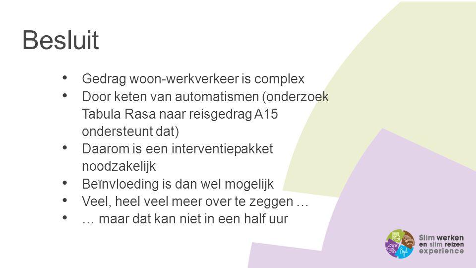 Besluit Gedrag woon-werkverkeer is complex Door keten van automatismen (onderzoek Tabula Rasa naar reisgedrag A15 ondersteunt dat) Daarom is een inter