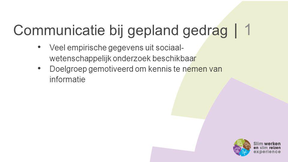 Communicatie bij gepland gedrag | 1 Veel empirische gegevens uit sociaal- wetenschappelijk onderzoek beschikbaar Doelgroep gemotiveerd om kennis te ne