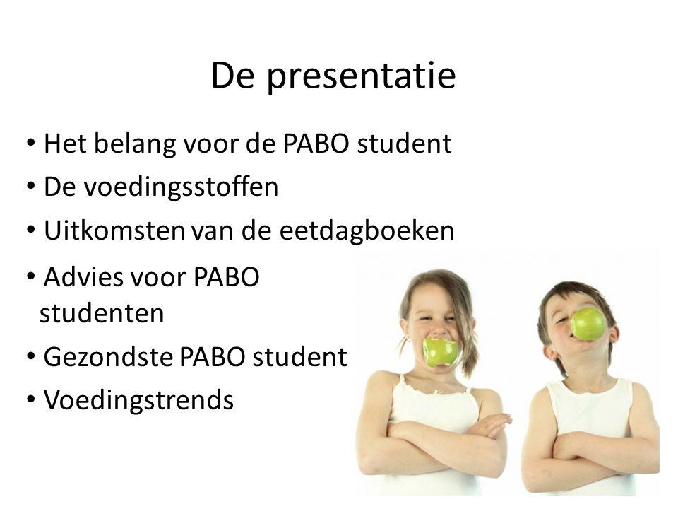 De presentatie Het belang voor de PABO student De voedingsstoffen Uitkomsten van de eetdagboeken Advies voor PABO studenten Gezondste PABO student Voe