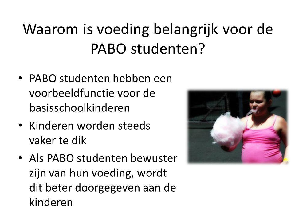Waarom is voeding belangrijk voor de PABO studenten? PABO studenten hebben een voorbeeldfunctie voor de basisschoolkinderen Kinderen worden steeds vak