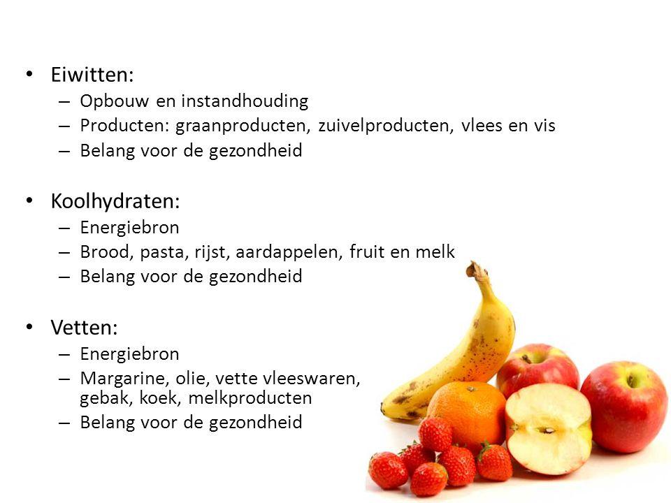 Eiwitten: – Opbouw en instandhouding – Producten: graanproducten, zuivelproducten, vlees en vis – Belang voor de gezondheid Koolhydraten: – Energiebro