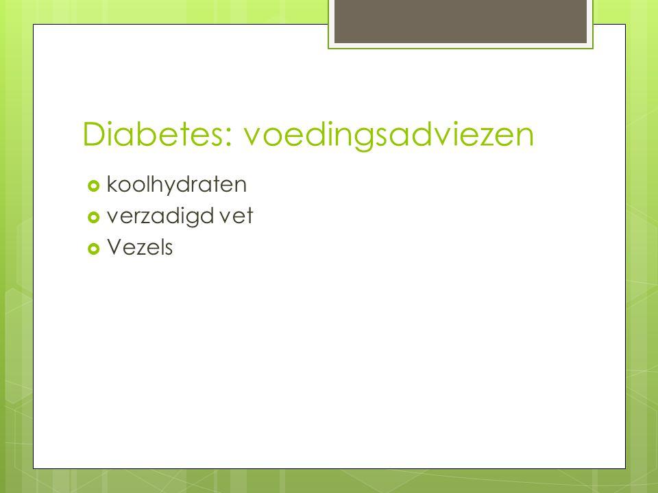 Diabetes: voedingsadviezen  koolhydraten  verzadigd vet  Vezels