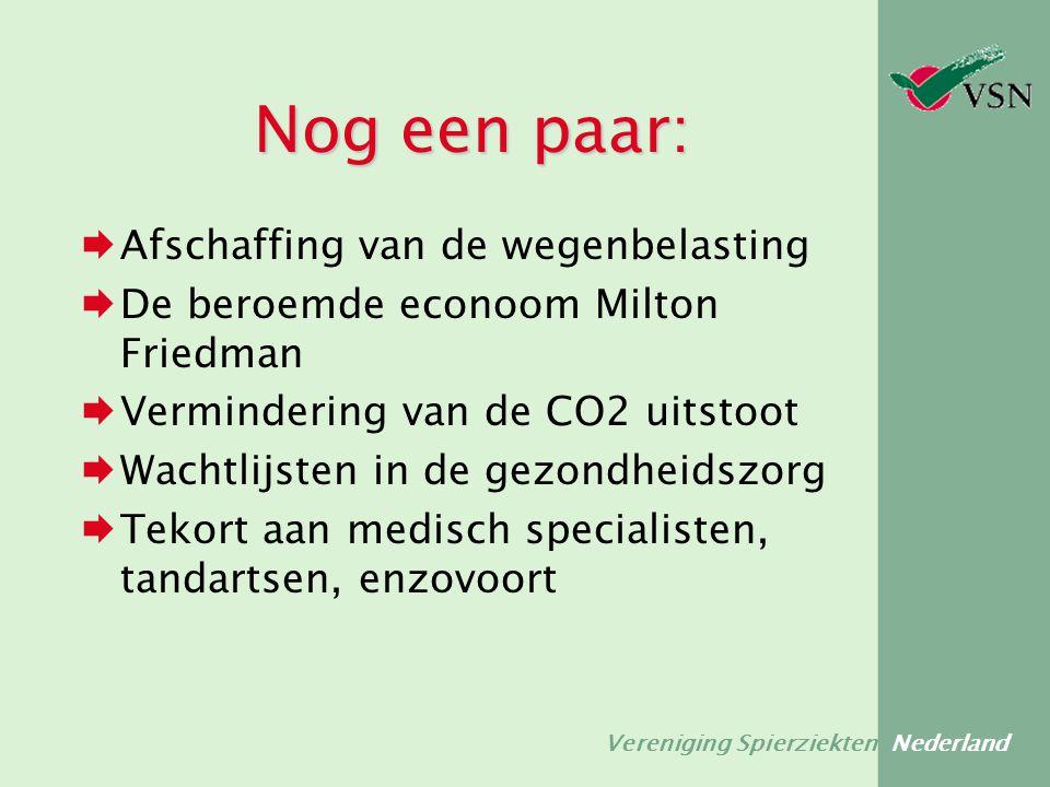 Vereniging Spierziekten Nederland Nog een paar:  Afschaffing van de wegenbelasting  De beroemde econoom Milton Friedman  Vermindering van de CO2 ui