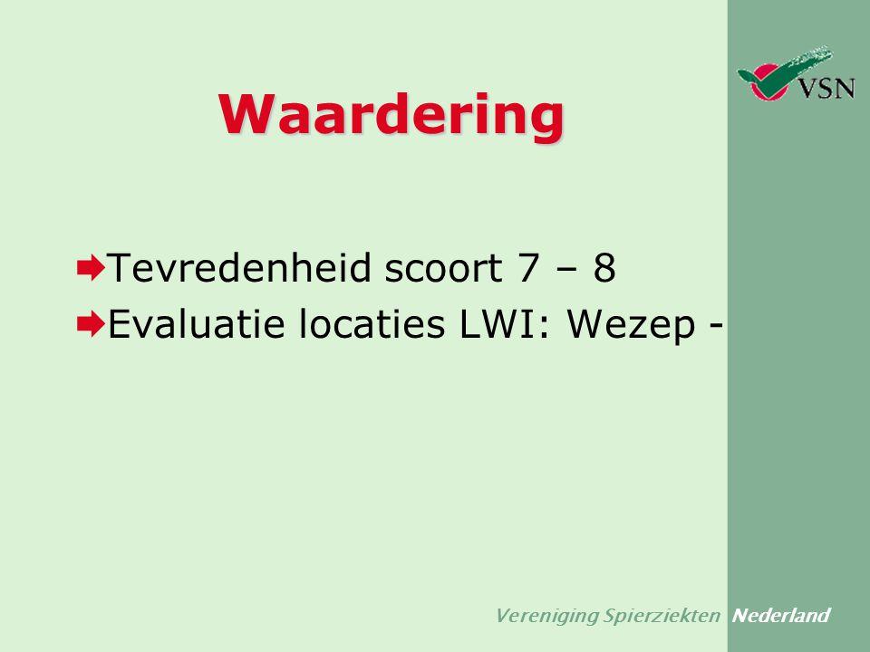 Waardering  Tevredenheid scoort 7 – 8  Evaluatie locaties LWI: Wezep -