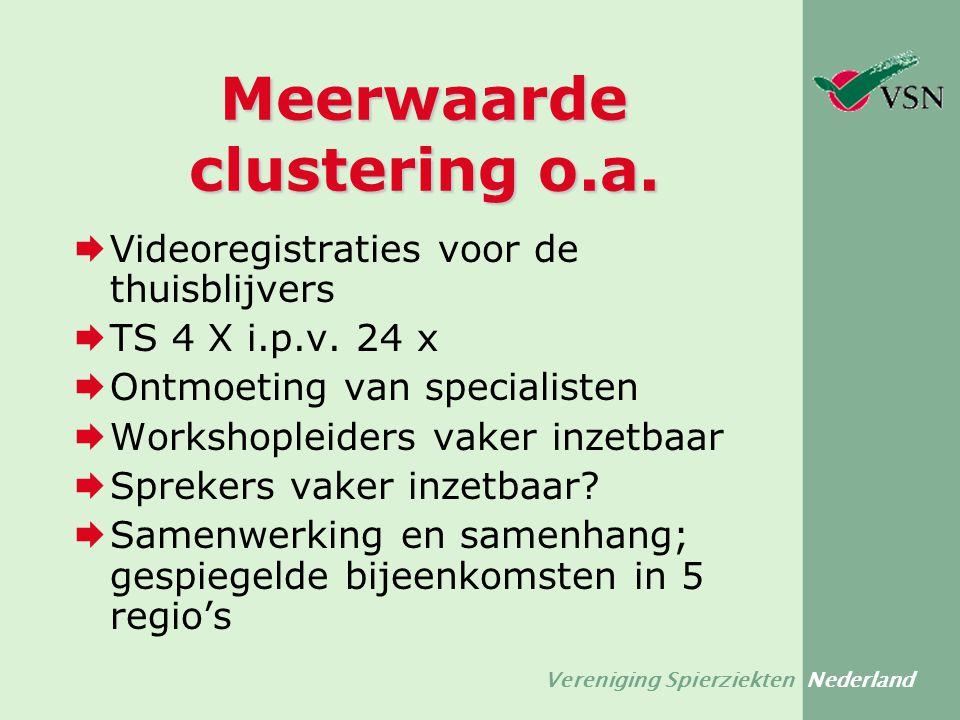 Vereniging Spierziekten Nederland Meerwaarde clustering o.a.  Videoregistraties voor de thuisblijvers  TS 4 X i.p.v. 24 x  Ontmoeting van specialis