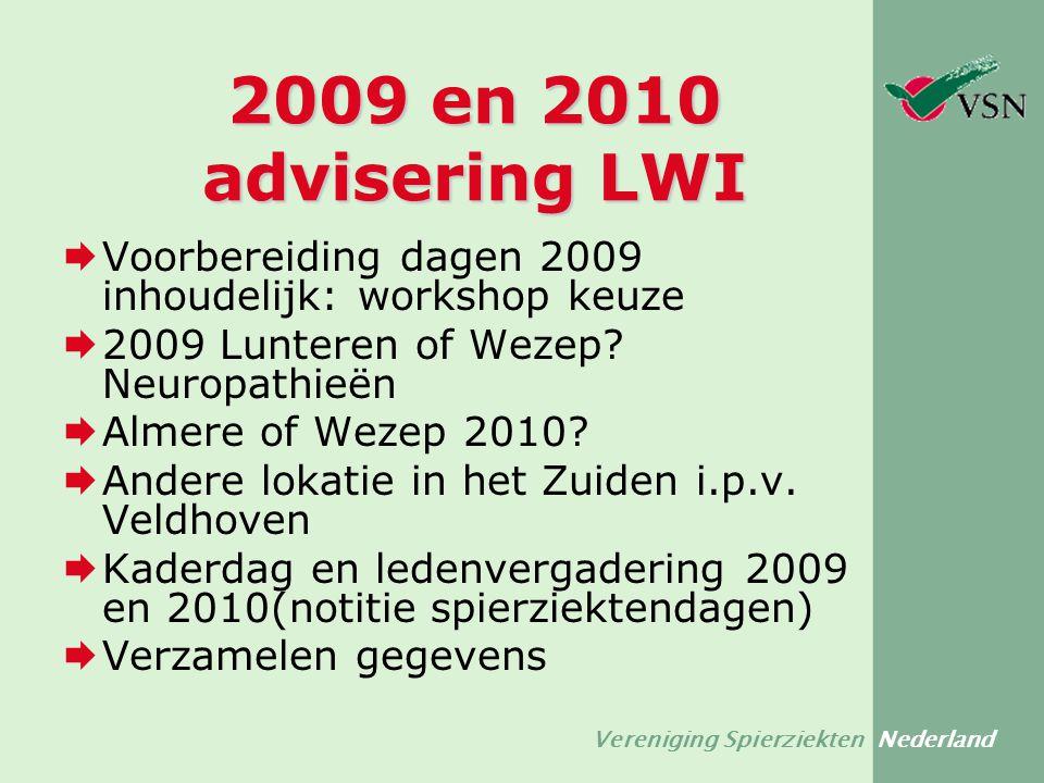 Vereniging Spierziekten Nederland 2009 en 2010 advisering LWI  Voorbereiding dagen 2009 inhoudelijk: workshop keuze  2009 Lunteren of Wezep? Neuropa