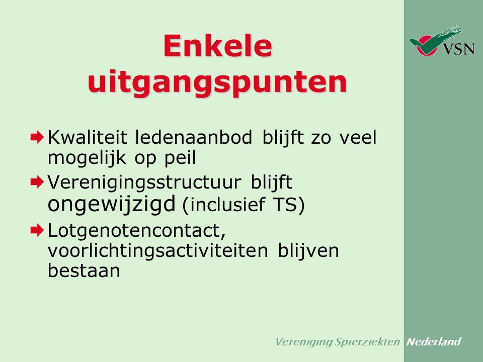 Vereniging Spierziekten Nederland Enkele uitgangspunten  Kwaliteit ledenaanbod blijft zo veel mogelijk op peil  Verenigingsstructuur blijft ongewijz