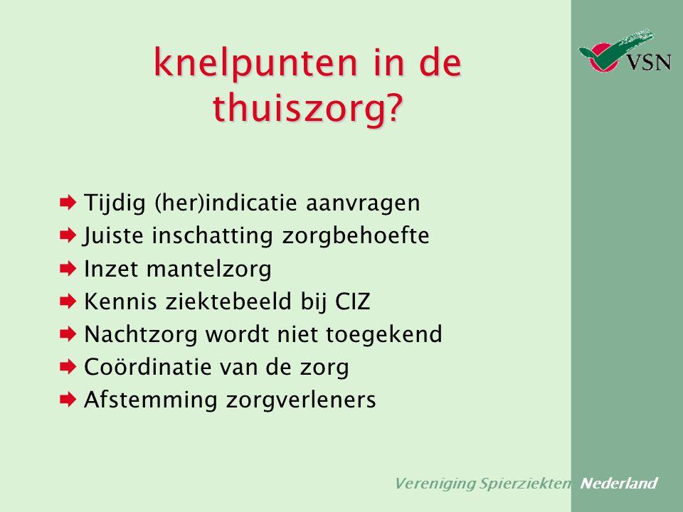 Vereniging Spierziekten Nederland knelpunten in de thuiszorg?  Tijdig (her)indicatie aanvragen  Juiste inschatting zorgbehoefte  Inzet mantelzorg 
