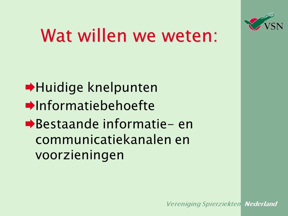 Vereniging Spierziekten Nederland Wat willen we weten:  Huidige knelpunten  Informatiebehoefte  Bestaande informatie- en communicatiekanalen en voo