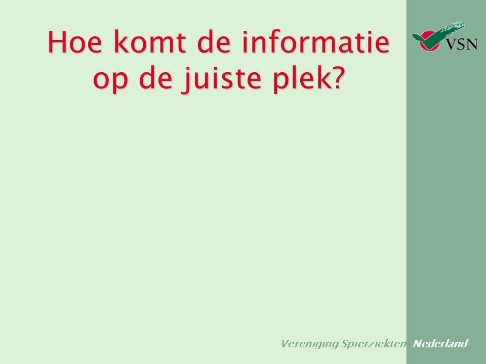 Vereniging Spierziekten Nederland Hoe komt de informatie op de juiste plek?