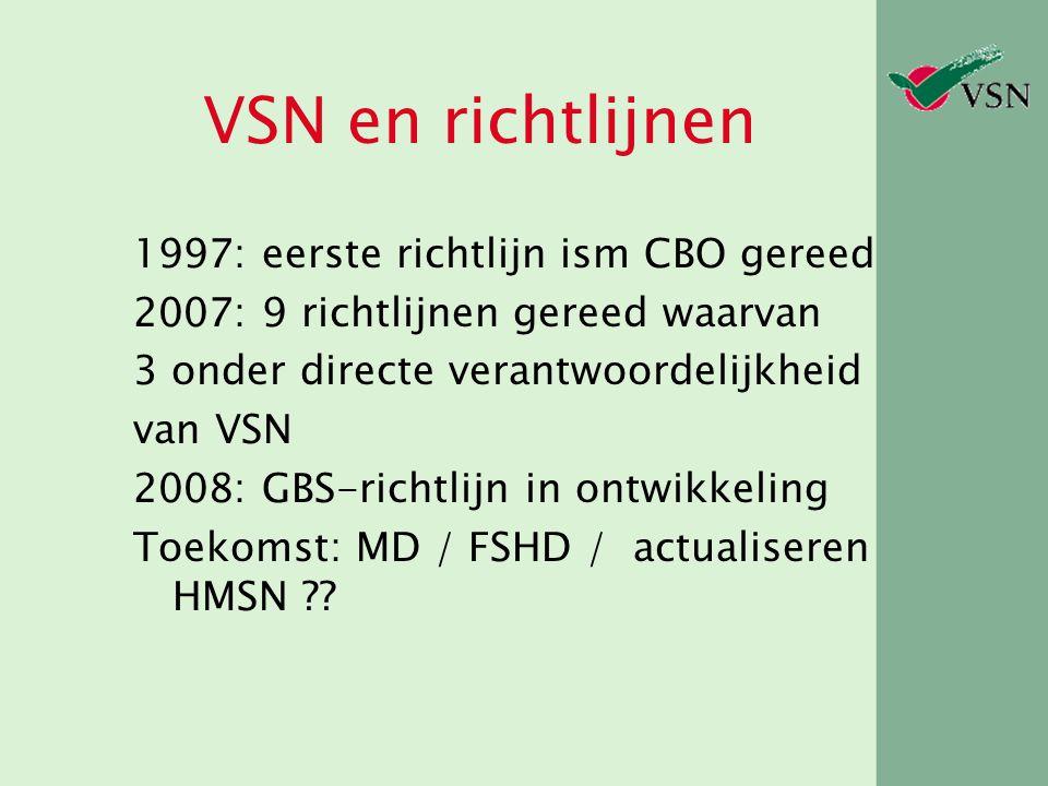 VSN en richtlijnen 1997: eerste richtlijn ism CBO gereed 2007: 9 richtlijnen gereed waarvan 3 onder directe verantwoordelijkheid van VSN 2008: GBS-ric