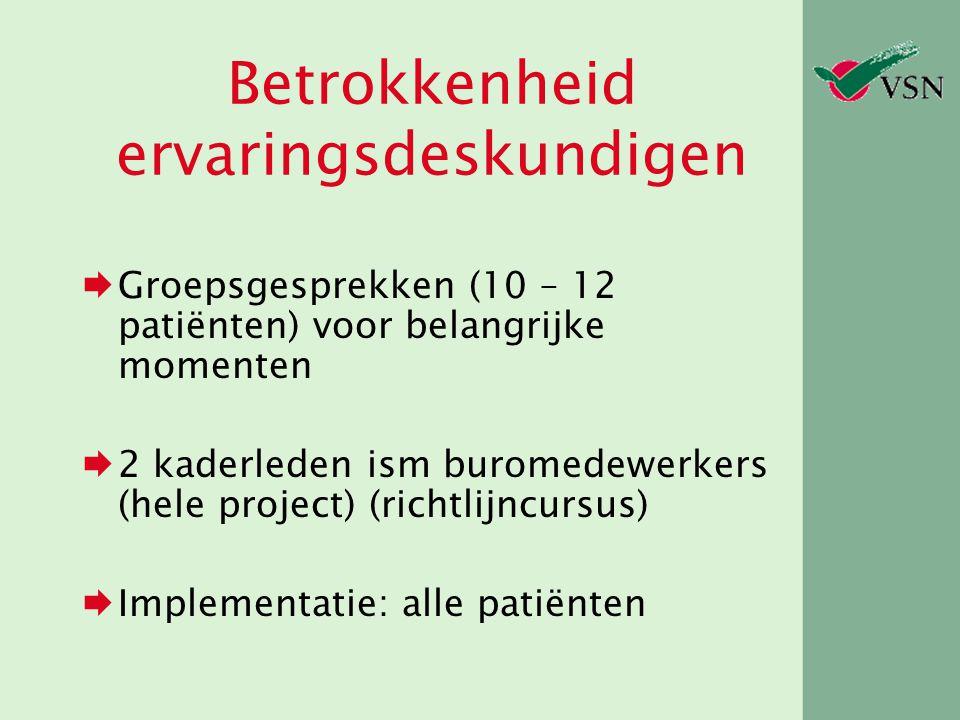 Betrokkenheid ervaringsdeskundigen  Groepsgesprekken (10 – 12 patiënten) voor belangrijke momenten  2 kaderleden ism buromedewerkers (hele project)