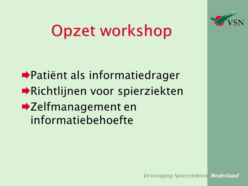 Vereniging Spierziekten Nederland Opzet workshop  Patiënt als informatiedrager  Richtlijnen voor spierziekten  Zelfmanagement en informatiebehoefte