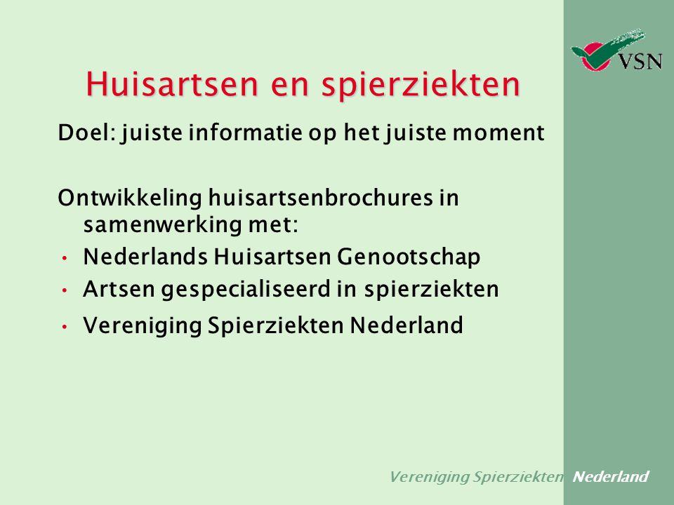 Vereniging Spierziekten Nederland Doel: juiste informatie op het juiste moment Ontwikkeling huisartsenbrochures in samenwerking met: Nederlands Huisar