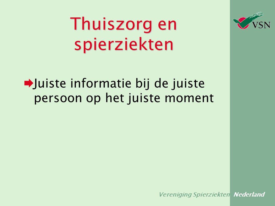 Vereniging Spierziekten Nederland Thuiszorg en spierziekten  Juiste informatie bij de juiste persoon op het juiste moment