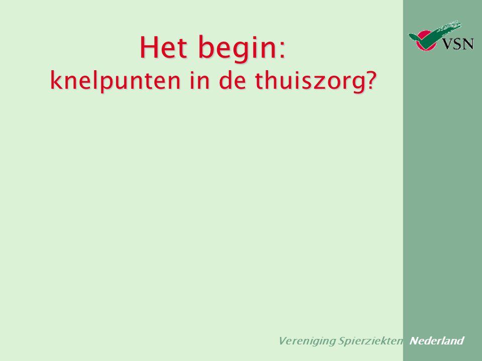 Vereniging Spierziekten Nederland knelpunten in de thuiszorg  Veel verschillende medewerkers over de vloer  Te weinig kennis over en ervaring met ziektebeeld  Patiënt wordt niet op juiste niveau aangesproken  Patiënt wordt onder- of overschat  Aandeel van mantelzorg wordt overschat  Teveel taken verdeeld over verschillende personen