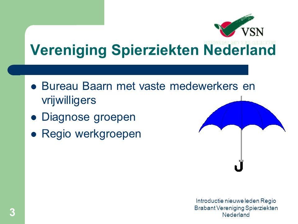Introductie nieuwe leden Regio Brabant Vereniging Spierziekten Nederland 3 Vereniging Spierziekten Nederland Bureau Baarn met vaste medewerkers en vrijwilligers Diagnose groepen Regio werkgroepen