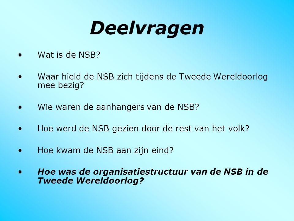 Deelvragen Wat is de NSB? Waar hield de NSB zich tijdens de Tweede Wereldoorlog mee bezig? Wie waren de aanhangers van de NSB? Hoe werd de NSB gezien
