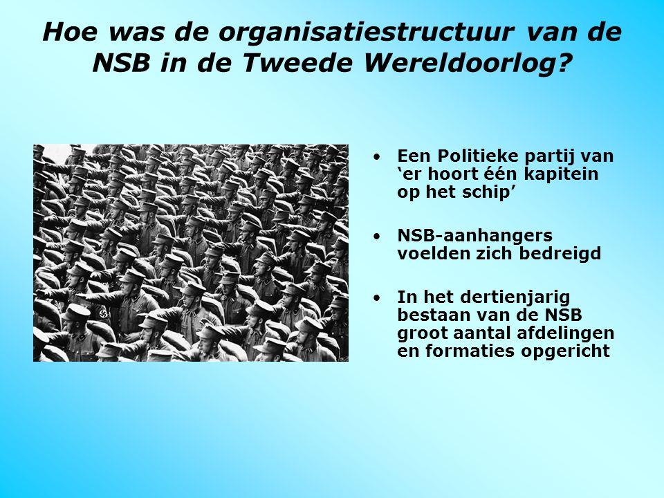 Hoe was de organisatiestructuur van de NSB in de Tweede Wereldoorlog? Een Politieke partij van 'er hoort één kapitein op het schip' NSB-aanhangers voe