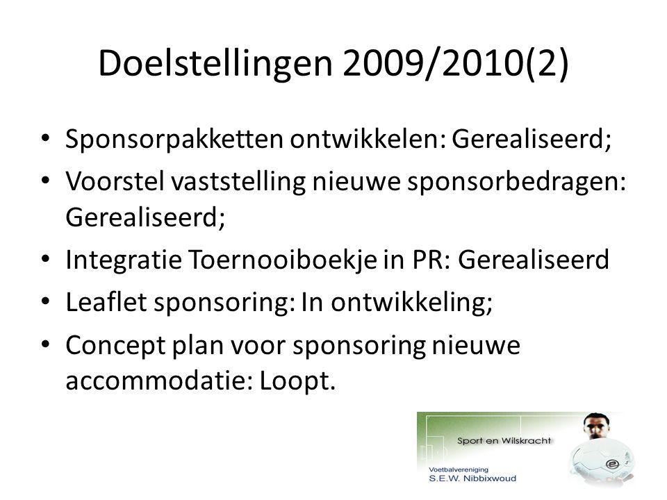 Doelstellingen 2009/2010(2) Sponsorpakketten ontwikkelen: Gerealiseerd; Voorstel vaststelling nieuwe sponsorbedragen: Gerealiseerd; Integratie Toernooiboekje in PR: Gerealiseerd Leaflet sponsoring: In ontwikkeling; Concept plan voor sponsoring nieuwe accommodatie: Loopt.