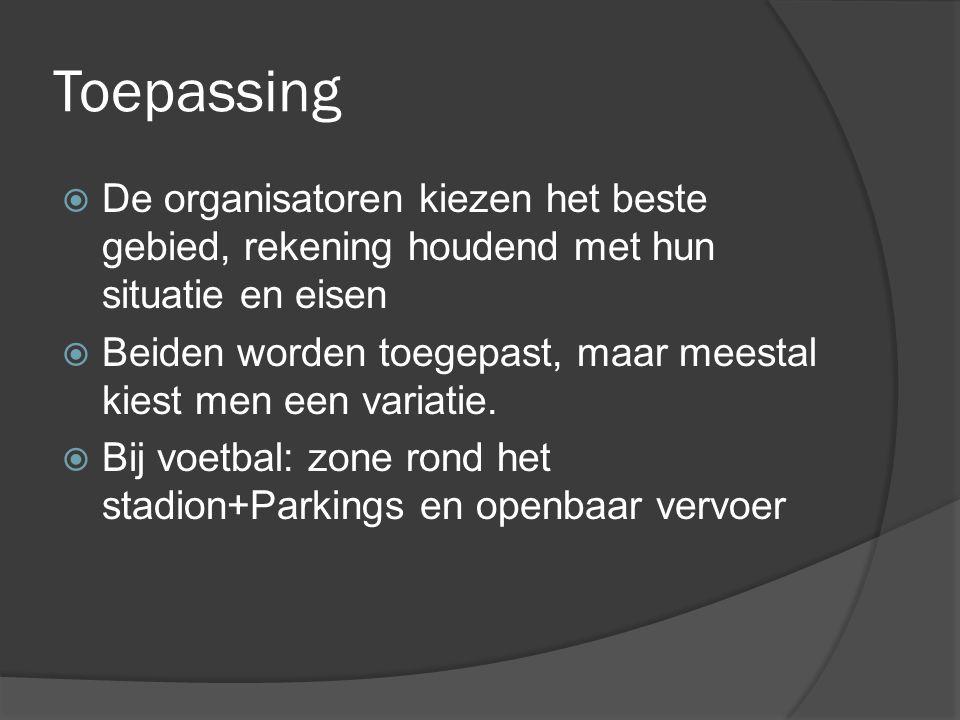Toepassing  De organisatoren kiezen het beste gebied, rekening houdend met hun situatie en eisen  Beiden worden toegepast, maar meestal kiest men een variatie.