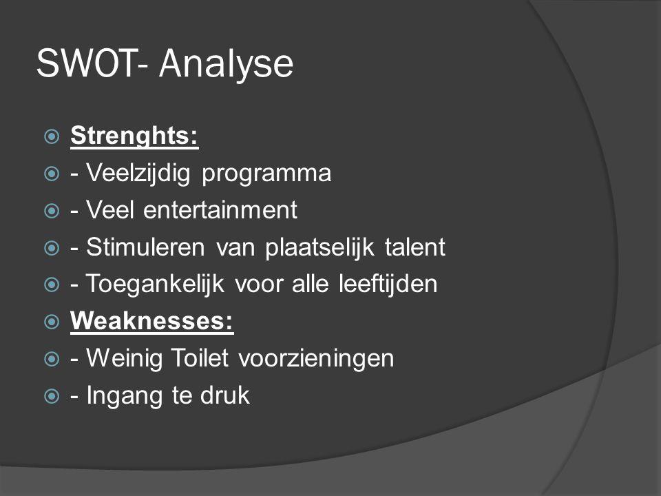 SWOT- Analyse  Strenghts:  - Veelzijdig programma  - Veel entertainment  - Stimuleren van plaatselijk talent  - Toegankelijk voor alle leeftijden  Weaknesses:  - Weinig Toilet voorzieningen  - Ingang te druk