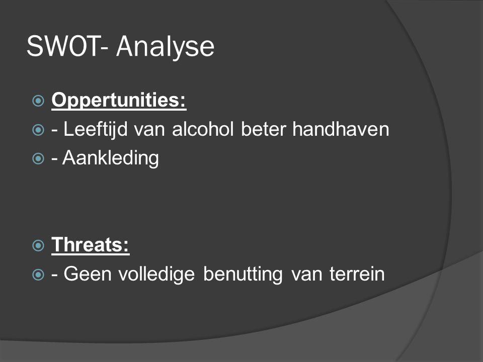 SWOT- Analyse  Oppertunities:  - Leeftijd van alcohol beter handhaven  - Aankleding  Threats:  - Geen volledige benutting van terrein