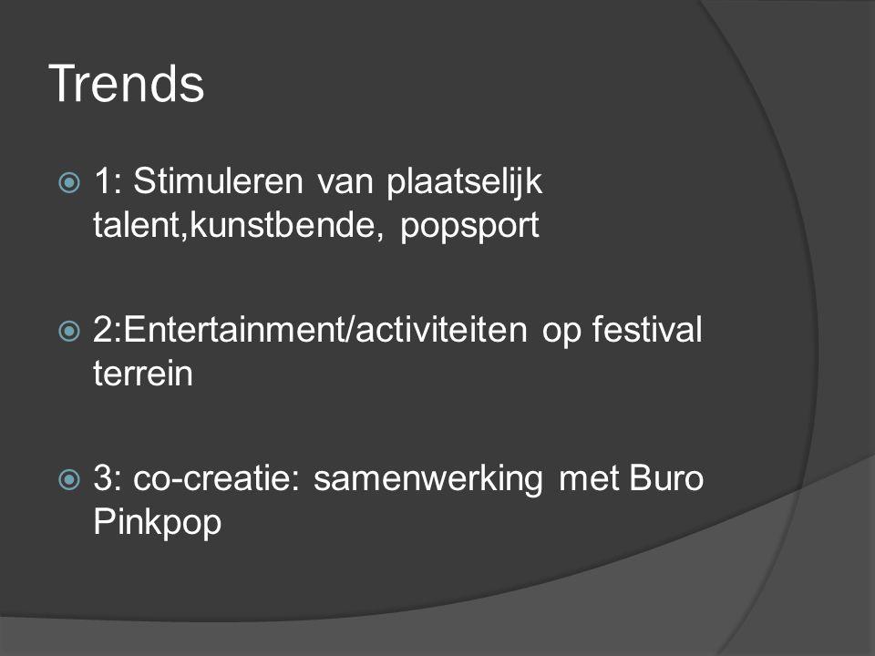 Trends  1: Stimuleren van plaatselijk talent,kunstbende, popsport  2:Entertainment/activiteiten op festival terrein  3: co-creatie: samenwerking met Buro Pinkpop