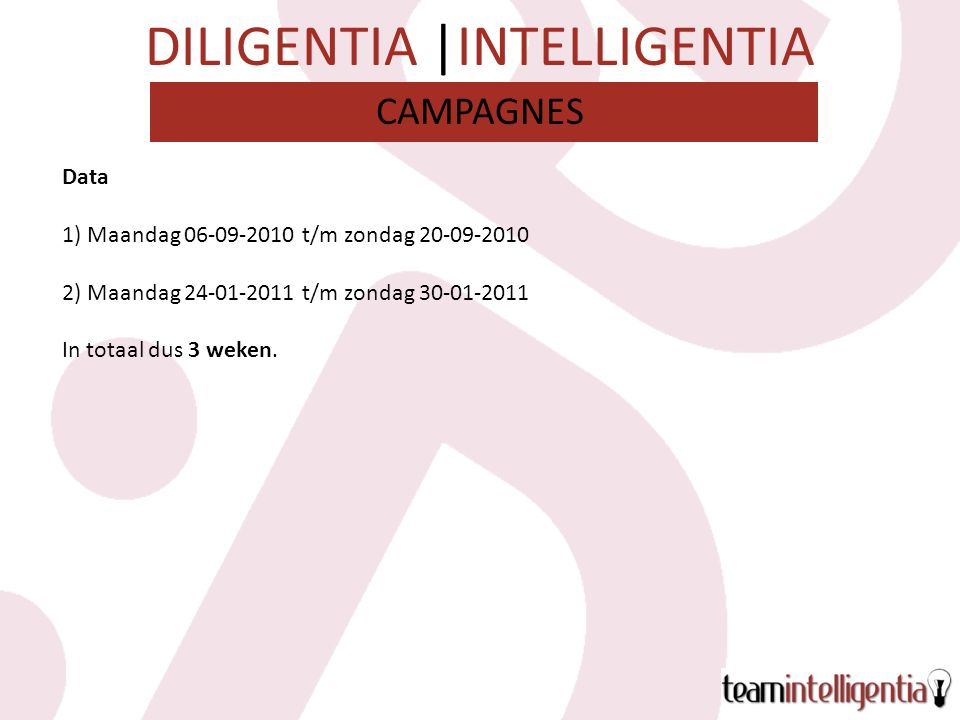DILIGENTIA |INTELLIGENTIA WatKostenBereik Google Adwords/ SEO€19.000n.b.