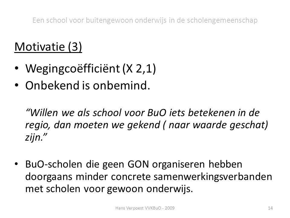 """Motivatie (3) Wegingcoëfficiënt (X 2,1) Onbekend is onbemind. """"Willen we als school voor BuO iets betekenen in de regio, dan moeten we gekend ( naar w"""