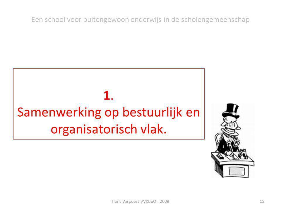 Hans Verpoest VVKBuO - 200915 Een school voor buitengewoon onderwijs in de scholengemeenschap 1. Samenwerking op bestuurlijk en organisatorisch vlak.