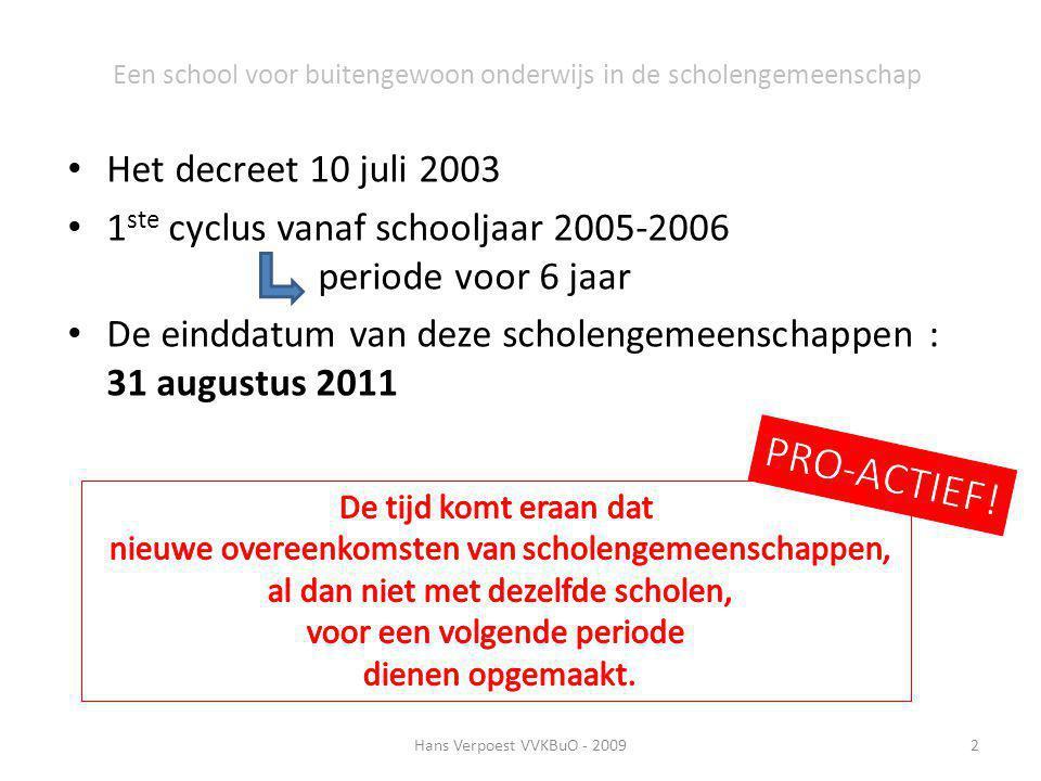 Een school voor buitengewoon onderwijs in de scholengemeenschap Het decreet 10 juli 2003 1 ste cyclus vanaf schooljaar 2005-2006 periode voor 6 jaar D