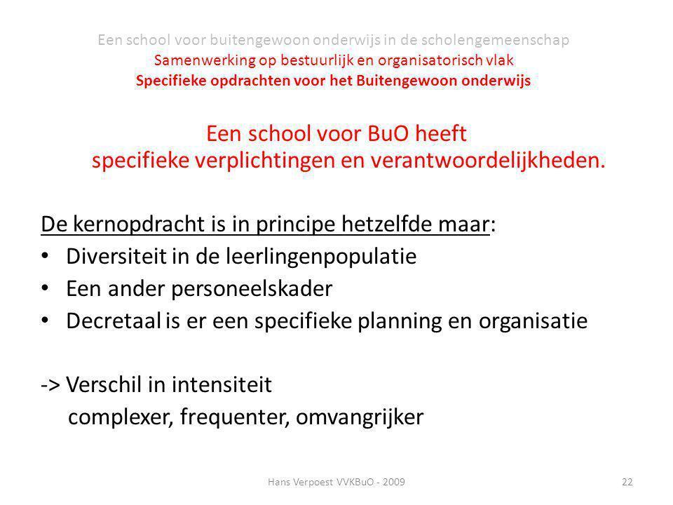 Een school voor BuO heeft specifieke verplichtingen en verantwoordelijkheden. De kernopdracht is in principe hetzelfde maar: Diversiteit in de leerlin