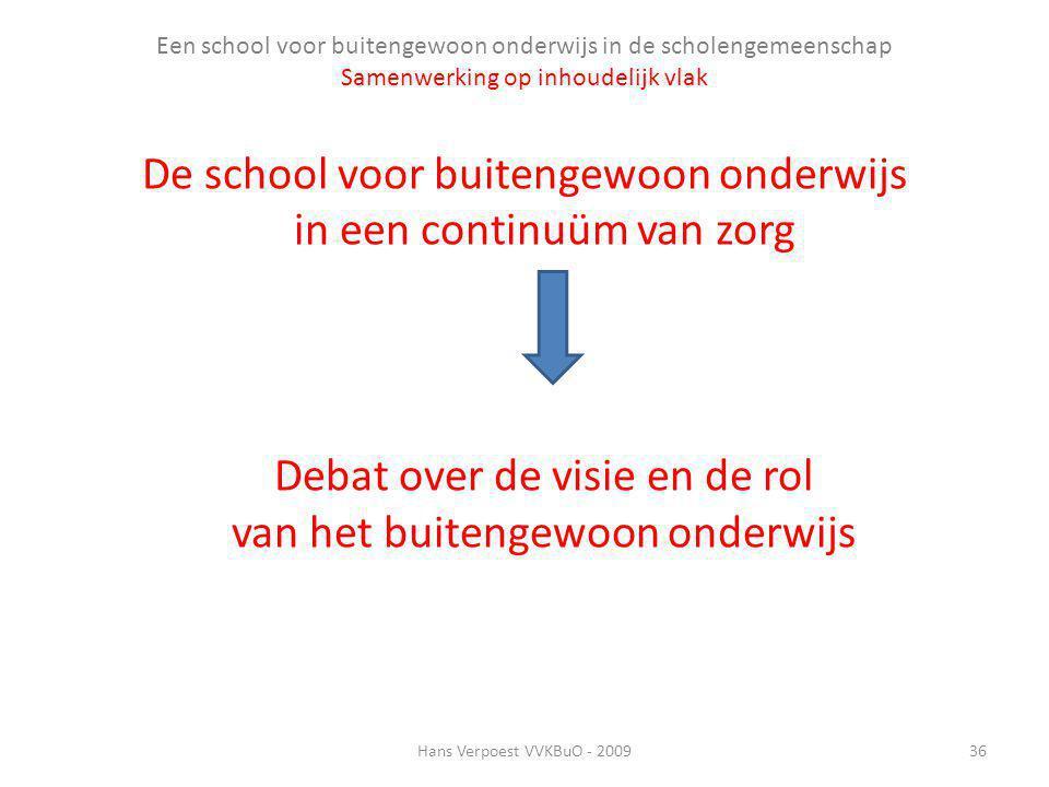 Een school voor buitengewoon onderwijs in de scholengemeenschap Samenwerking op inhoudelijk vlak De school voor buitengewoon onderwijs in een continuü