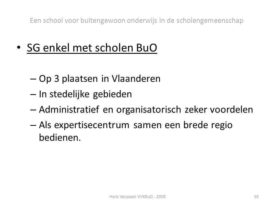 Een school voor buitengewoon onderwijs in de scholengemeenschap SG enkel met scholen BuO – Op 3 plaatsen in Vlaanderen – In stedelijke gebieden – Admi