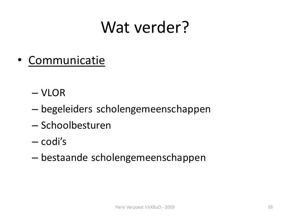 Wat verder? Communicatie – VLOR – begeleiders scholengemeenschappen – Schoolbesturen – codi's – bestaande scholengemeenschappen Hans Verpoest VVKBuO -