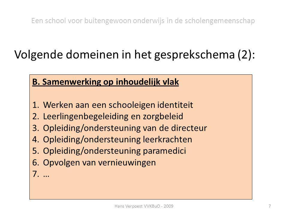 Hans Verpoest VVKBuO - 20097 Een school voor buitengewoon onderwijs in de scholengemeenschap Volgende domeinen in het gesprekschema (2): B. Samenwerki