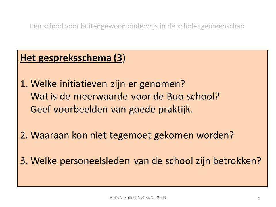 Hans Verpoest VVKBuO - 20098 Een school voor buitengewoon onderwijs in de scholengemeenschap Het gespreksschema (3) 1.Welke initiatieven zijn er genom