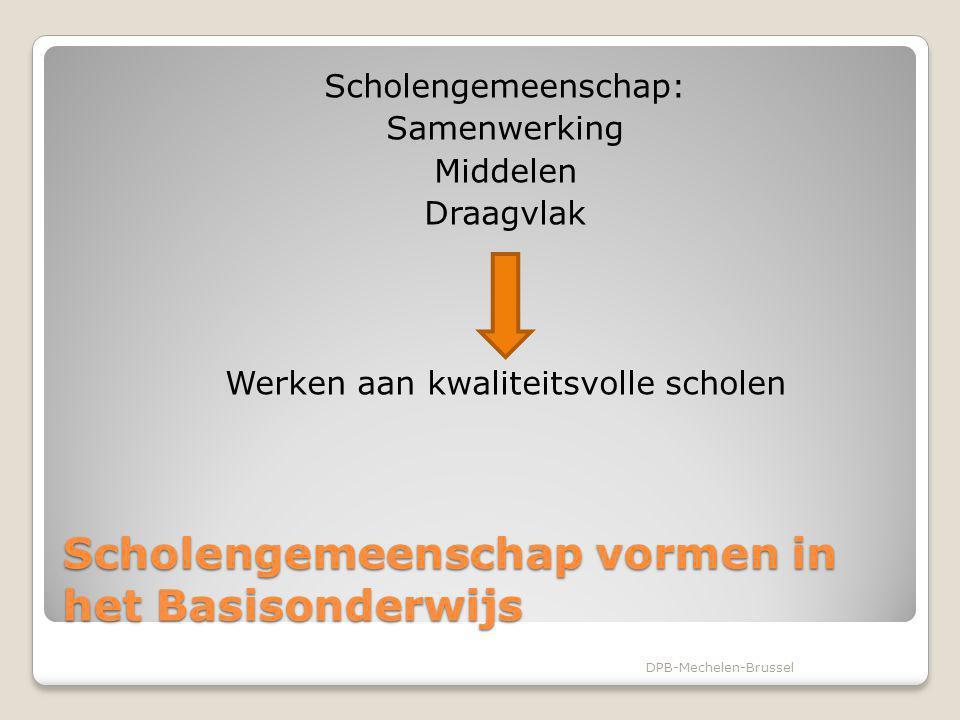Scholengemeenschap vormen in het Basisonderwijs Scholengemeenschap: Samenwerking Middelen Draagvlak Werken aan kwaliteitsvolle scholen DPB-Mechelen-Br