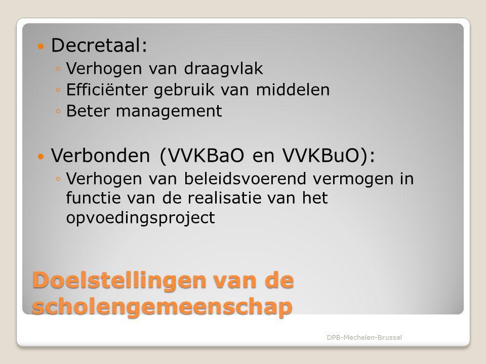 Doelstellingen van de scholengemeenschap Decretaal: ◦Verhogen van draagvlak ◦Efficiënter gebruik van middelen ◦Beter management Verbonden (VVKBaO en V