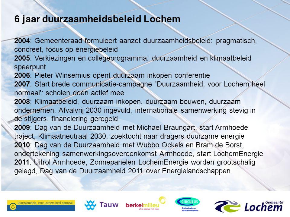 6 jaar duurzaamheidsbeleid Lochem 2004: Gemeenteraad formuleert aanzet duurzaamheidsbeleid: pragmatisch, concreet, focus op energiebeleid 2005: Verkiezingen en collegeprogramma: duurzaamheid en klimaatbeleid speerpunt 2006: Pieter Winsemius opent duurzaam inkopen conferentie 2007: Start brede communicatie-campagne Duurzaamheid, voor Lochem heel normaal : scholen doen actief mee 2008: Klimaatbeleid, duurzaam inkopen, duurzaam bouwen, duurzaam ondernemen, Afvalvrij 2030 ingevuld, internationale samenwerking stevig in de stijgers, financiering geregeld 2009: Dag van de Duurzaamheid met Michael Braungart, start Armhoede traject, Klimaatneutraal 2030, zoektocht naar dragers duurzame energie 2010: Dag van de Duurzaamheid met Wubbo Ockels en Bram de Borst, ondertekening samenwerkingsovereenkomst Armhoede, start LochemEnergie 2011: Uitrol Armhoede, Zonnepanelen LochemEnergie worden grootschalig gelegd, Dag van de Duurzaamheid 2011 over Energielandschappen