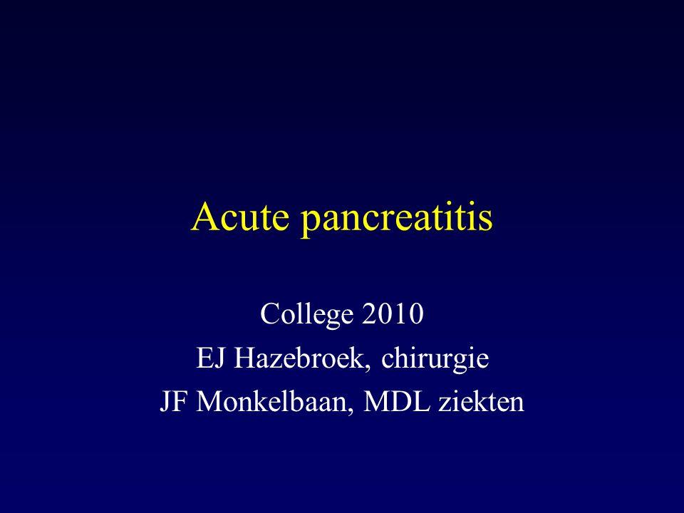 Acute pancreatitis: prognosis GLASGOW CRITERIA (acute, non-ethanol-related) White cell count > 15.000 Blood glucose > 10 mmol/l BUN > 16 mmol/l Arterial PO 2 < 60 mmHg Serum Ca < 2 mmol/l Serum Albumen <32 g/l LDH > 600 U/l ASAT or ALAT > 200 U/l