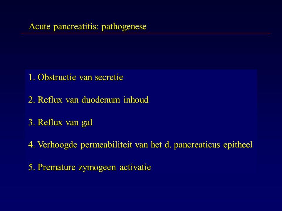Acute pancreatitis: pathogenese 1. Obstructie van secretie 2. Reflux van duodenum inhoud 3. Reflux van gal 4. Verhoogde permeabiliteit van het d. panc