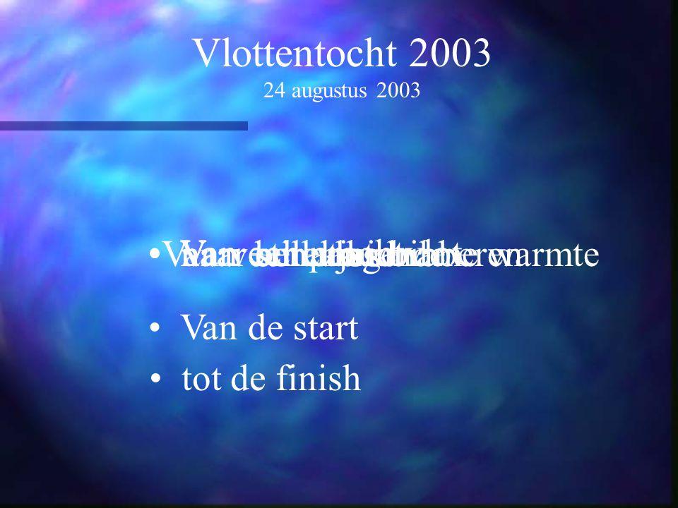 Vlottentocht 2003 24 augustus 2003 Van een prachtvlot naar een vlot Van een aangename warmte naar berekoudVan veel ambiance naar stilletjes bibberen V