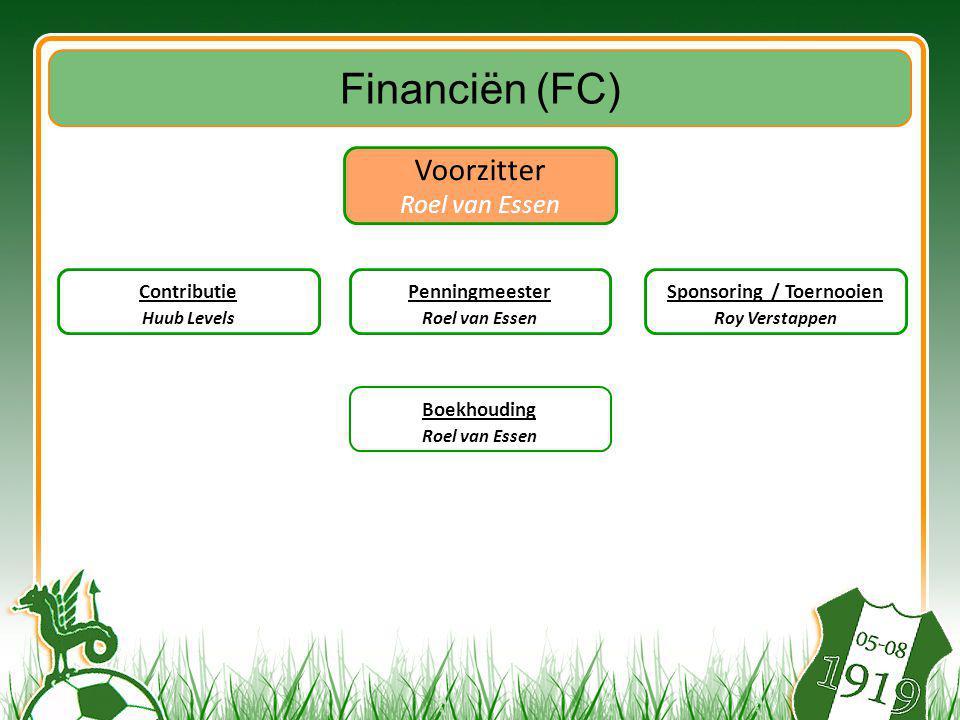 Voorzitter Roel van Essen Boekhouding Roel van Essen Financiën (FC) Contributie Huub Levels Sponsoring / Toernooien Roy Verstappen Penningmeester Roel van Essen