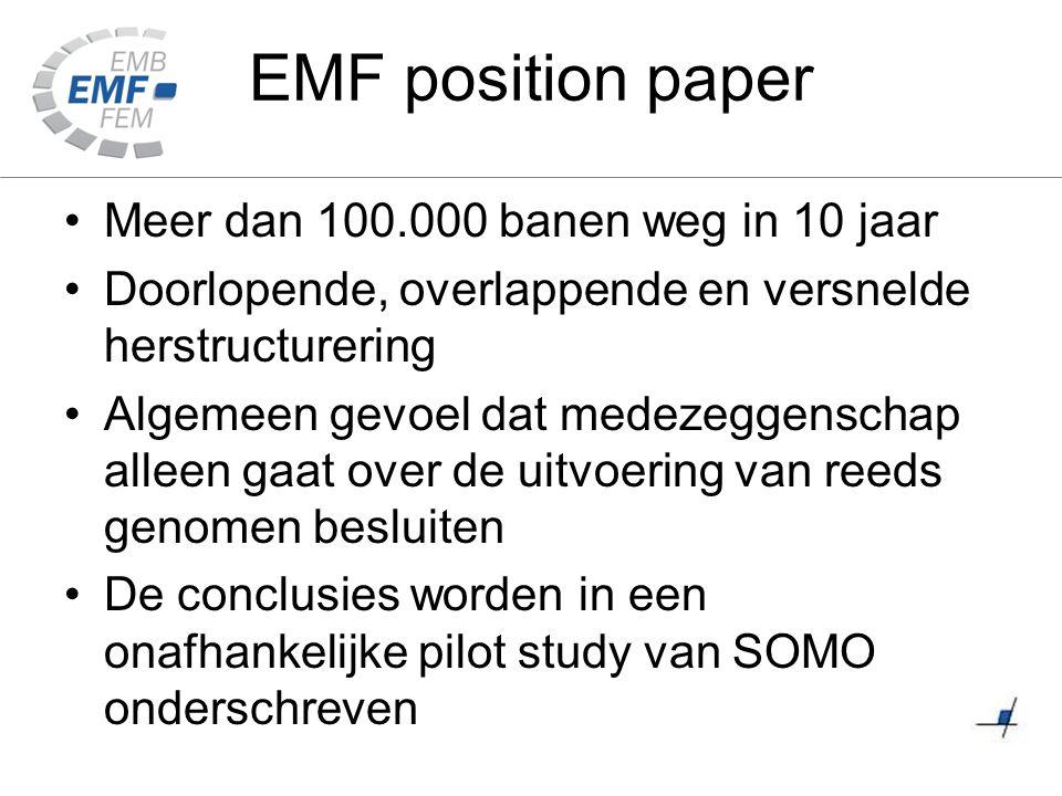 EMF position paper Meer dan 100.000 banen weg in 10 jaar Doorlopende, overlappende en versnelde herstructurering Algemeen gevoel dat medezeggenschap a
