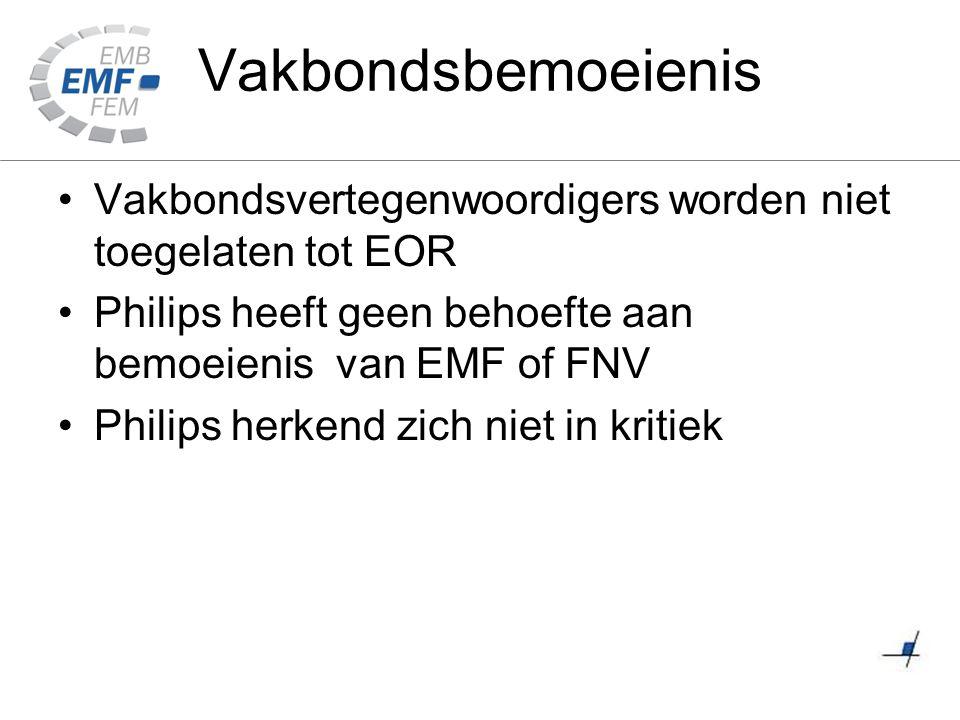 Vakbondsbemoeienis Vakbondsvertegenwoordigers worden niet toegelaten tot EOR Philips heeft geen behoefte aan bemoeienis van EMF of FNV Philips herkend