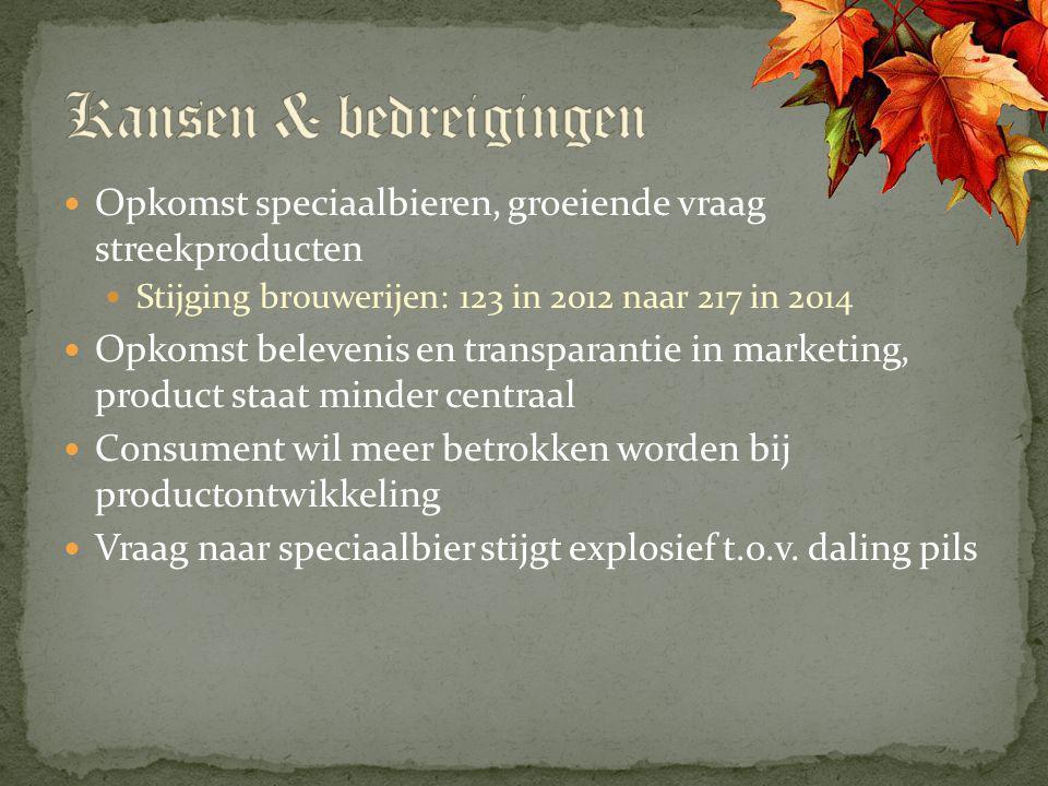 Opkomst speciaalbieren, groeiende vraag streekproducten Stijging brouwerijen: 123 in 2012 naar 217 in 2014 Opkomst belevenis en transparantie in marke