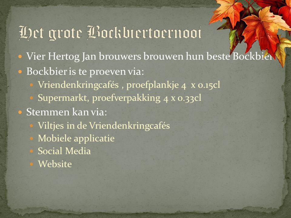 Vier Hertog Jan brouwers brouwen hun beste Bockbier Bockbier is te proeven via: Vriendenkringcafés, proefplankje 4 x 0.15cl Supermarkt, proefverpakkin