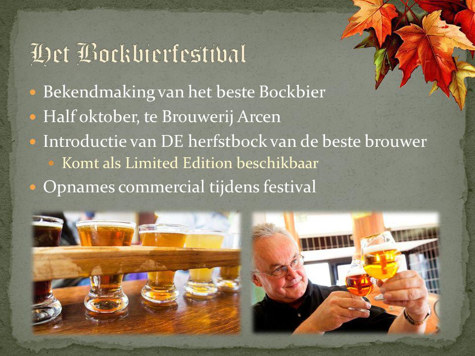 Bekendmaking van het beste Bockbier Half oktober, te Brouwerij Arcen Introductie van DE herfstbock van de beste brouwer Komt als Limited Edition besch